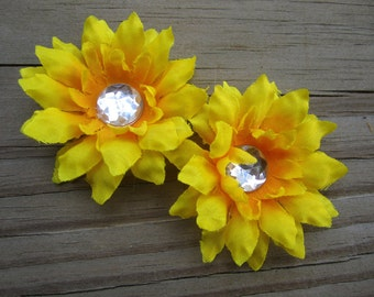 set of two yellow SUNFLOWER flower bobby pins HAIR PIN flowers with rhienstones