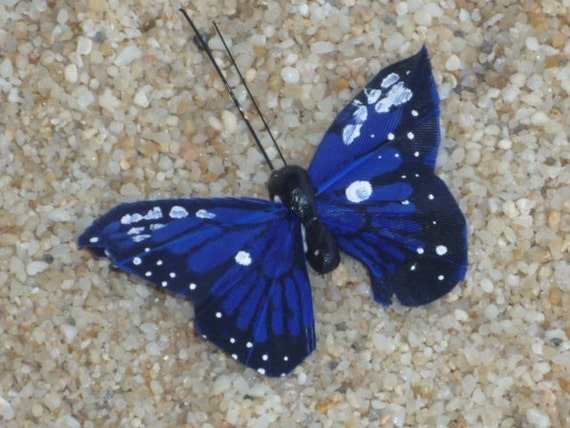 Royal Blue Butterfly HAIR CLIP black and white spots