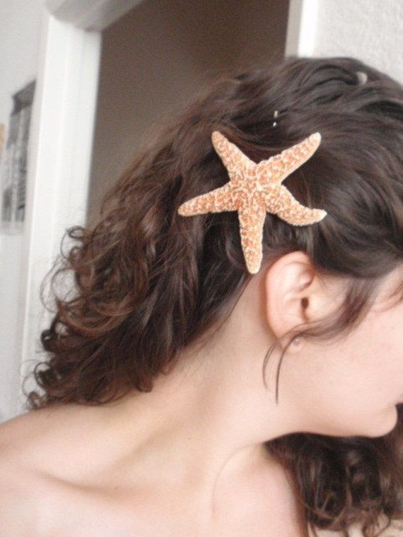 NATURAL SUGAR STARFISH hair pin star fish