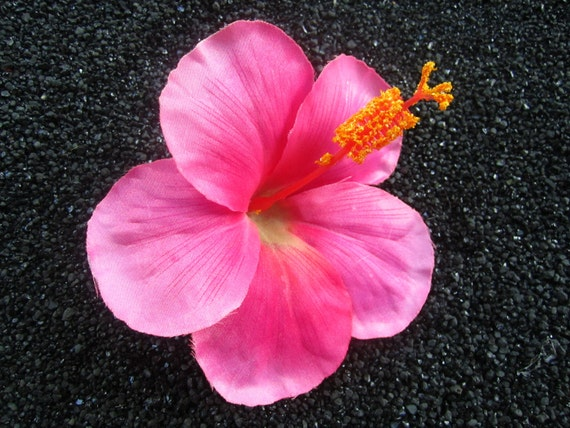 TROPICAL pink HIBISCUS flower hair clip