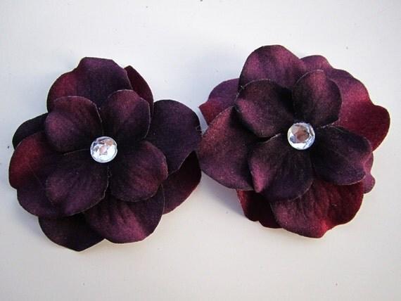 set of 2 Dark Purple hydrangea flower bobby pins HAIR PIN