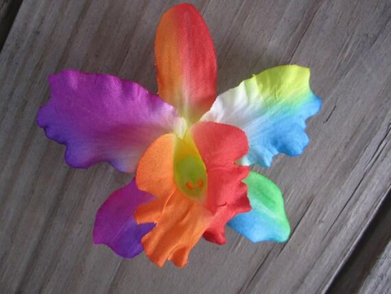 Rainbow Bright ORCHID flower bobby pins HAIR