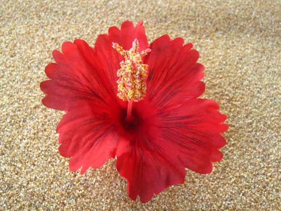 Red HIBISCUS flower hair clip OR pin