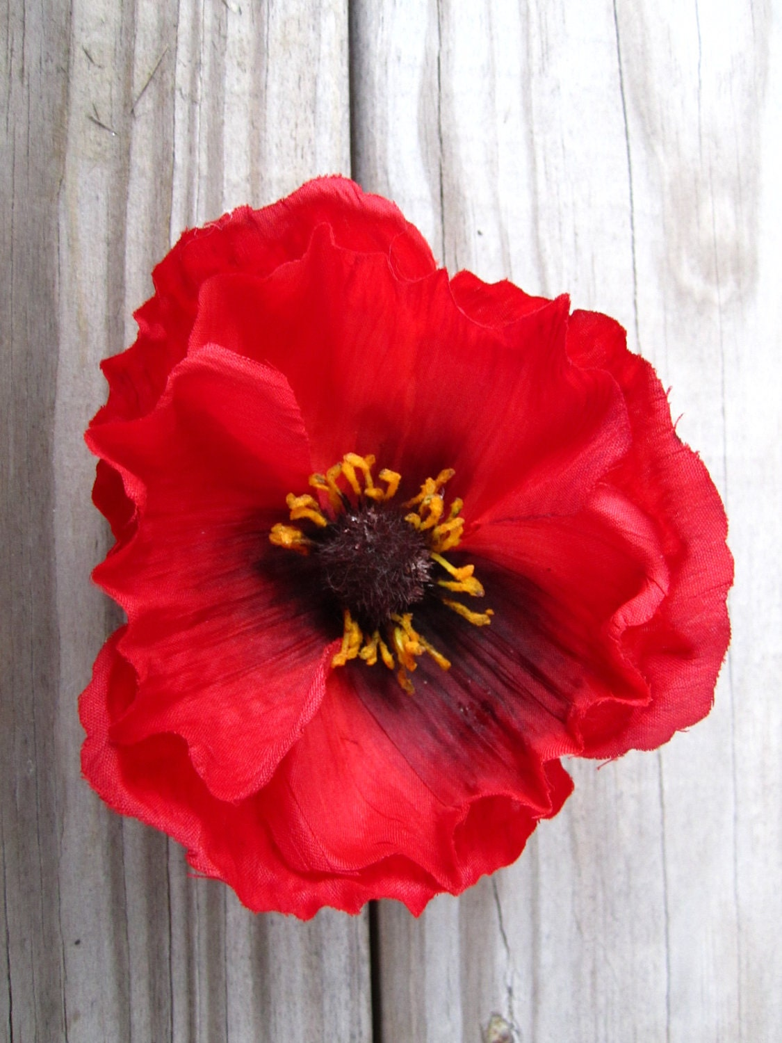Red poppy flower hair clip or pin by itsashorething on Etsy