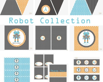 Robot Birthday Party, Robot Baby Shower, Robot Birthday Decorations, Robot Baby Shower Decorations, Robot Party Decorations, BeeAndDaisy