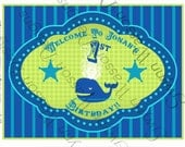 PRINTABLE Door Sign - Little Squirt Whale Party