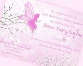 Snow Fairy Invitation - Winter Wonderland Snow Fairy Collection in Pink - Gwynn Wasson Designs PRINTABLES