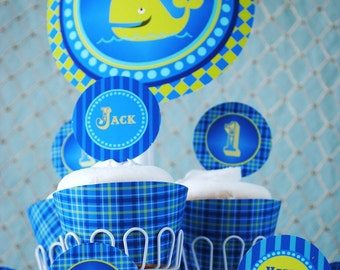 Under the Sea - Whale Party - Cupcake Toppers - Little Squirt Collection - Gwynn Wasson PRINTABLES
