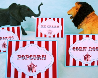 PRINTABLE Table Labels - Carnival/Circus Party