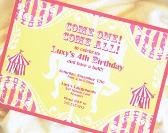 Carousel Invitation Carnival Invitation Circus invitation Big Top - Yellow Pink - Gwynn Wasson PRINTABLES