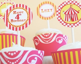 PRINTABLE Party Circles - Carnival/Circus Party Yellow and Pink
