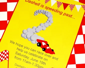 Race Car Party Invitation - Red and Yellow Collection - As seen on Hostess with the Mostess -Gwynn Wasson Designs PRINTABLES