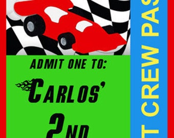 PRINTABLE Pit Pass - Race Car Collection - Brights