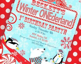 Winter ONEderland Invitation Winter Wonderland Invitation - Aqua and Red - Gwynn Wasson Designs PRINTABLES
