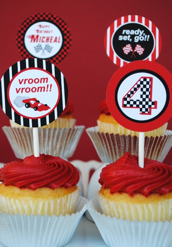 PRINTABLE 2 inch Party Circles - Black/Red Race Car Party