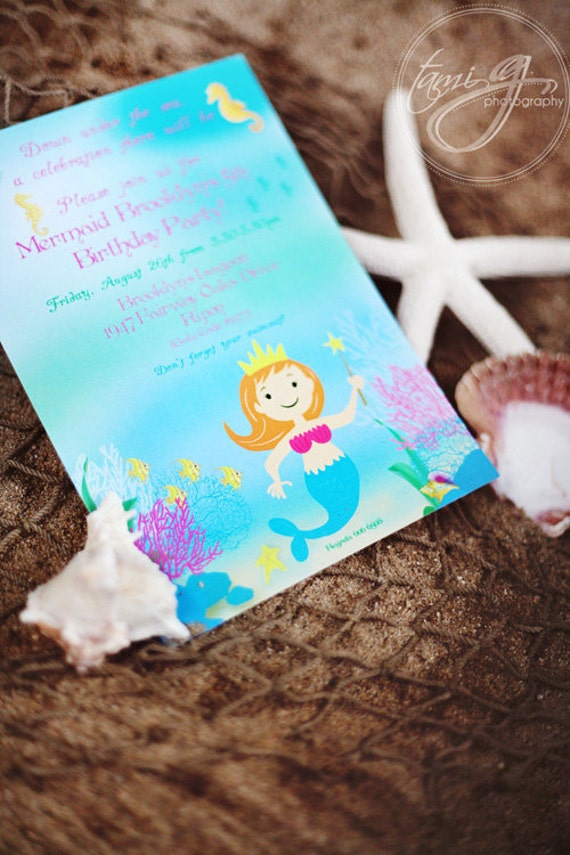 Mermaid Birthday Party Invitation - Magical Mermaid Under the Sea Collection as seen on KARA'S PARTY IDEAS - Gwynn Wasson Designs Printables