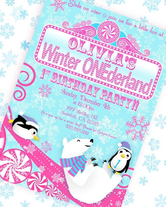 Winter ONEderland Wonderland Invitation - Pink and Aqua Collection - Gwynn Wasson Designs PRINBTABLES