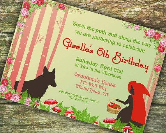 Red Riding Hood Birthday Party Invitation  - Gwynn Wasson Designs PRINTABLES
