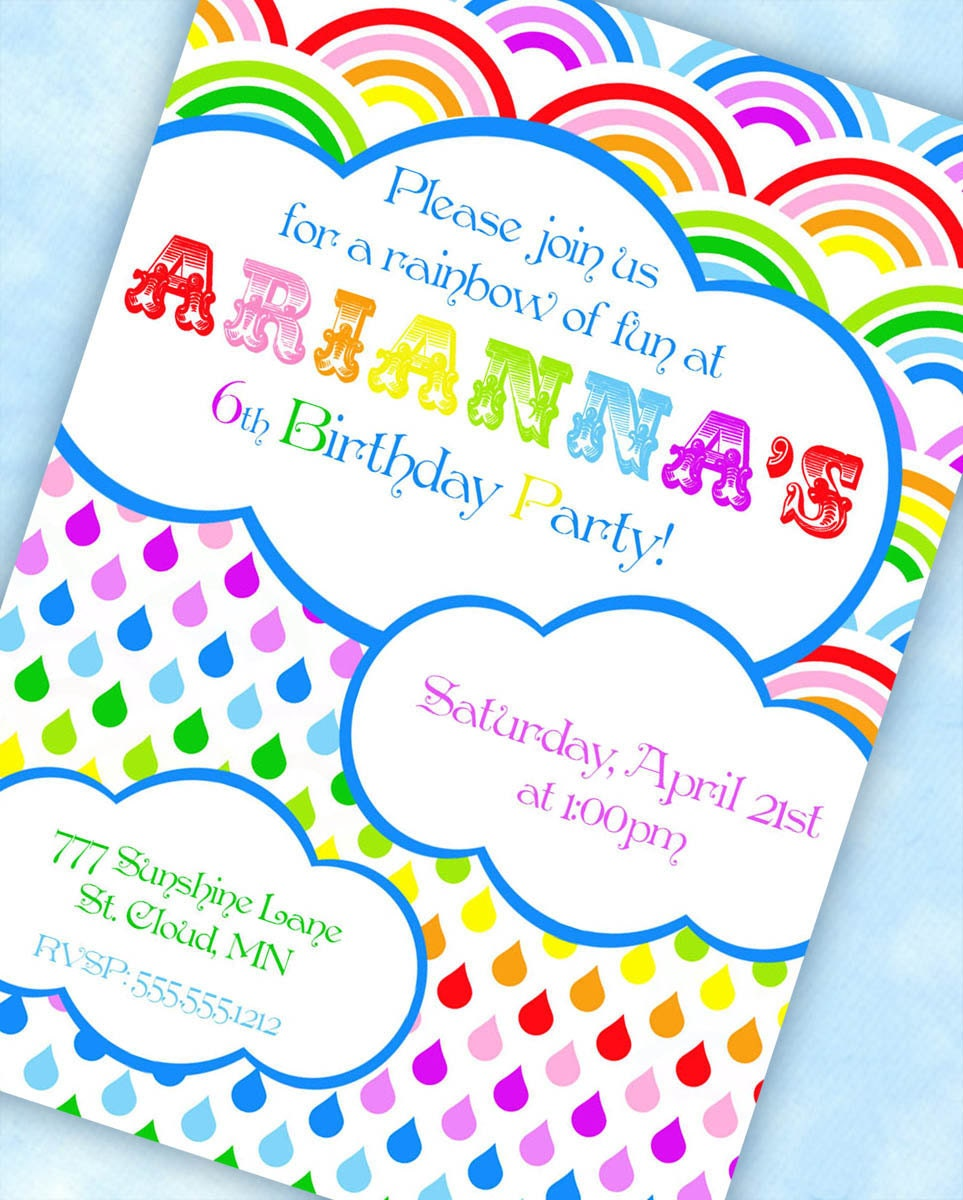 Free Printable Rainbow Birthday Party Invitations with nice invitation layout