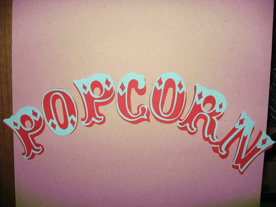 Popcorn Die Cut Word 2 25 Inches Each Letter Carnival