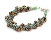 Spiral Beadwork Bracelet in Light Green and Mauve