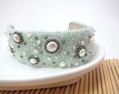 Ice Blue Felt Constellation Cuff Bracelet OoAK
