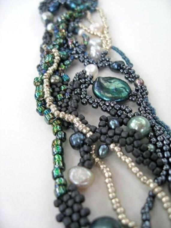 RESERVED for Ruth-- Dream Weaver Freeform Beadweaving Cuff Bracelet