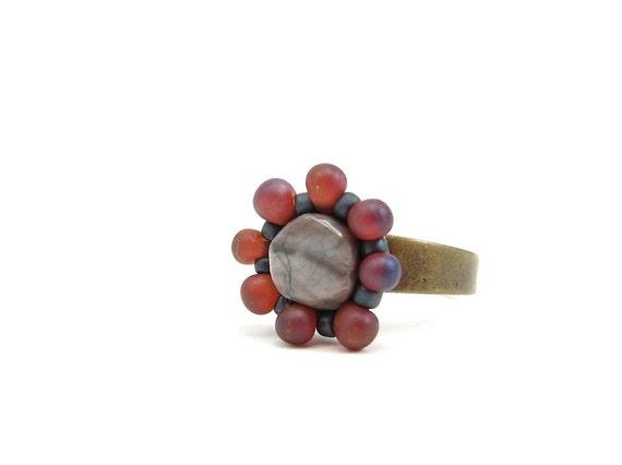 Opal Ring Adjustable Beaded Flower Ring, Oregon Opal, Earthy Boho Feminine, OoaK, Antique Brass