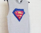 Reserved for a Silent Auction for Officer Peter Laboy  Recycled Superman Gray Tank Top Women