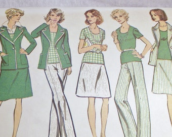 Sewing Pattern for Ladies Vintage Jacket, Top, Skirt and Pants Pattern in Simplicity 6235 for size 14 Retro Clothes That 70s show