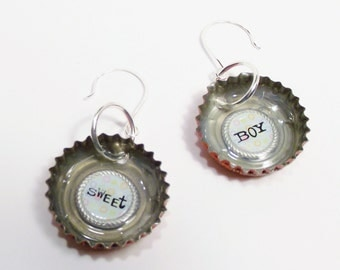 """Bottle Cap Dangle Earrings that have the words """"sweet"""" and """"boy"""" in them bottlecap earring upcycled accessories"""