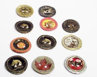 Large Recycled Bottlecap Buttons Two Hole Flat Metal Button Sewing Crafts Supplies Vintage Accessories Rocker Badass Modern Hipster