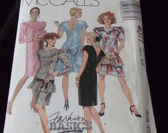 Dress Sewing Pattern Retro  McCall's  4077 womens for size 6 8 ladies Prom Dress Formal Spring 1980s evening gown shoulder pads