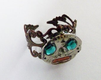 Filigree Steampunk Ring that is made with Recycled Watch Parts...Calling Mr. Roboto