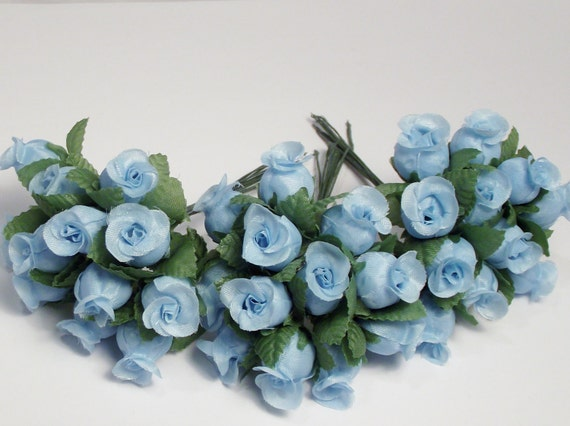 Small Light Blue Artificial Rose Flowers that includes 3 sets of 12 Roses in a set of 12 flowers leaves silk flowers supplies 36 lot