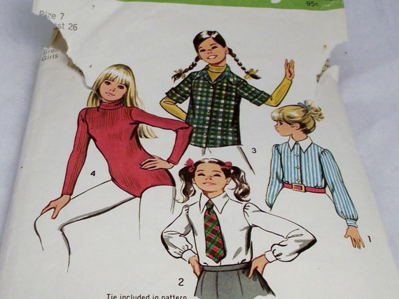 Vintage Simplicity Pattern for Sewing Your Little Girl a Cute Shirt and Tie or Body-Suit size 7 Dance Gymnastics Leotard School Uniform