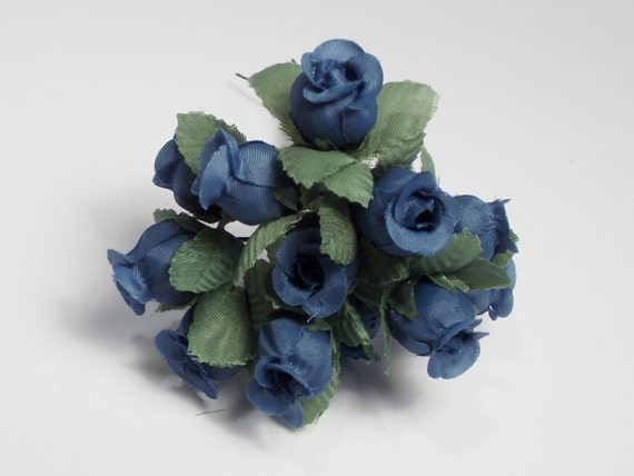 Blue Rose Small Artificial  Flowers 12 Blue dozen leaves silk flowers supplies bendable wire home decor wedding crafts accessories