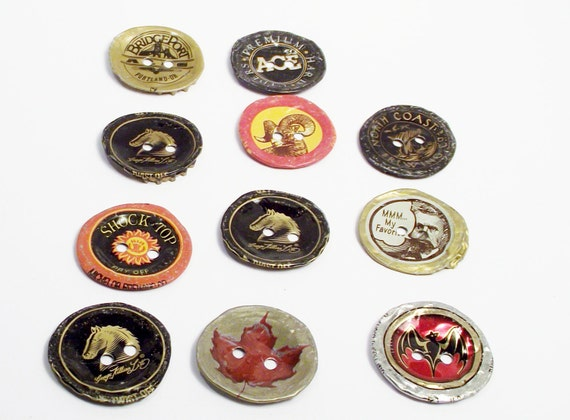Items similar to large recycled bottlecap buttons two hole for Large bottle caps for crafts
