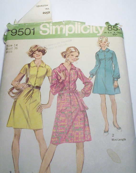 Dress in two lengths Simplicity Sewing Pattern for size  14 Bust 36 in pattern 9501 Short Mini Retro Vintage 70s Party Dinner Spring
