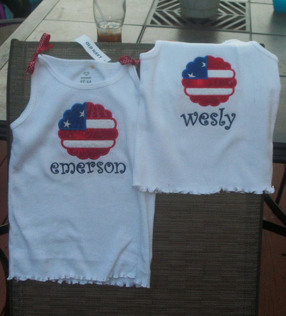 Scalloped Flag Personalized Top
