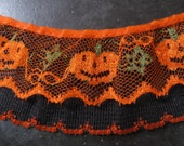 Jack O Lantern Halloween Pumpkin Ruffled Lace Fabric Sewing Trim  1 yard