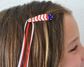 Braided Hair Clip - July 4th Red & White - Blue Crystals
