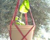 Macrame Plant Hanger Vintage Style 4mm, 30 inch Cranberry