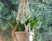 Macrame Plant Hanger Natural Jute Vintage Style 24 inch