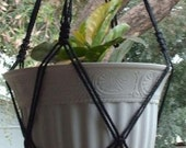 Macrame Plant Hanger Vintage Style 4mm, 30 inch Black with BLACK BEADS