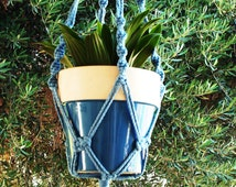 Macrame Plant Hanger 28 in Button Knot - 4mm Sky Blue