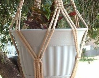 Macrame Plant Hanger 28 in Vintage strong 6mm  Sand  (Choose Color)