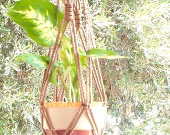 Macrame Plant Hanger Vintage Style 24 inch Cinnamon 4mm