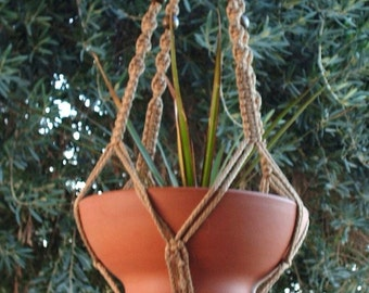 MACRAME Plant Hanger 44in Deluxe Style with BEADS - SAND Cord (Choose Color)