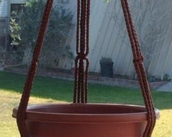 Macrame Plant Hanger 43in SIMPLE 3-ARM 6mm -Brown